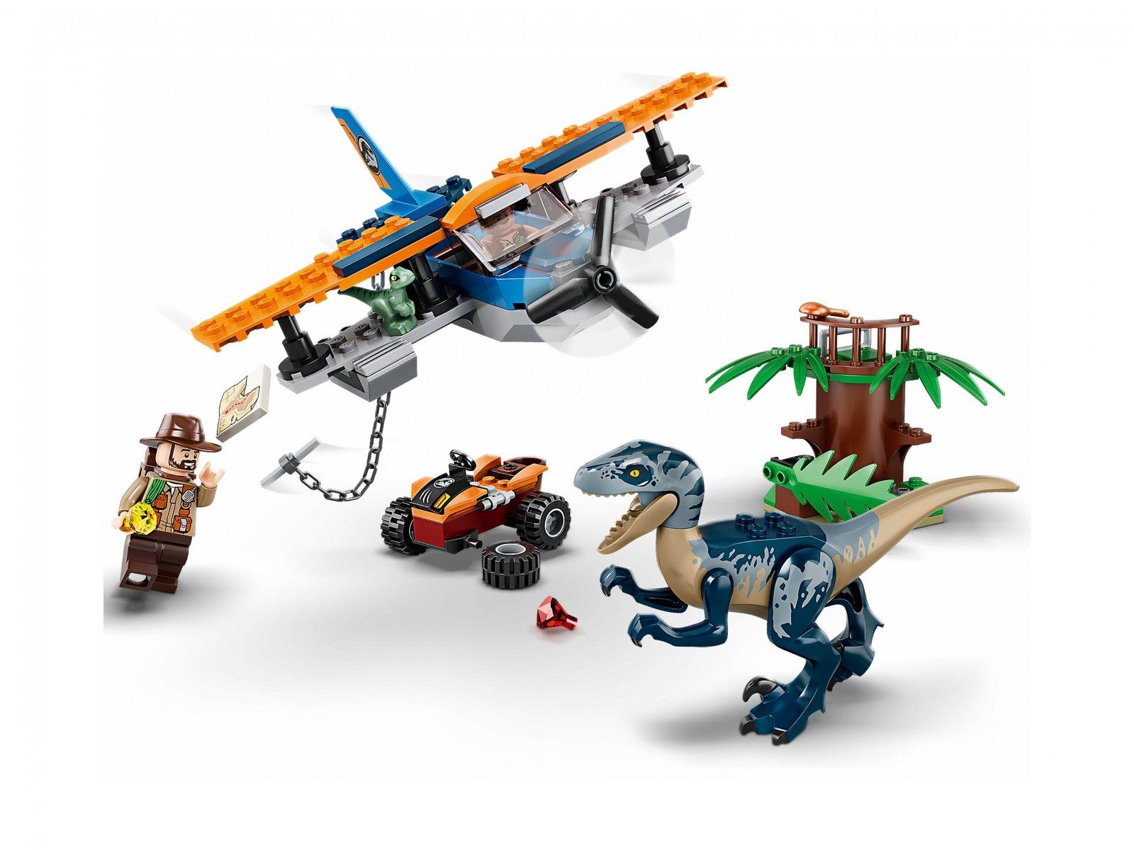LEGO 75942 Jurassic World™ Welociraptor: na ratunek dwupłatowcem