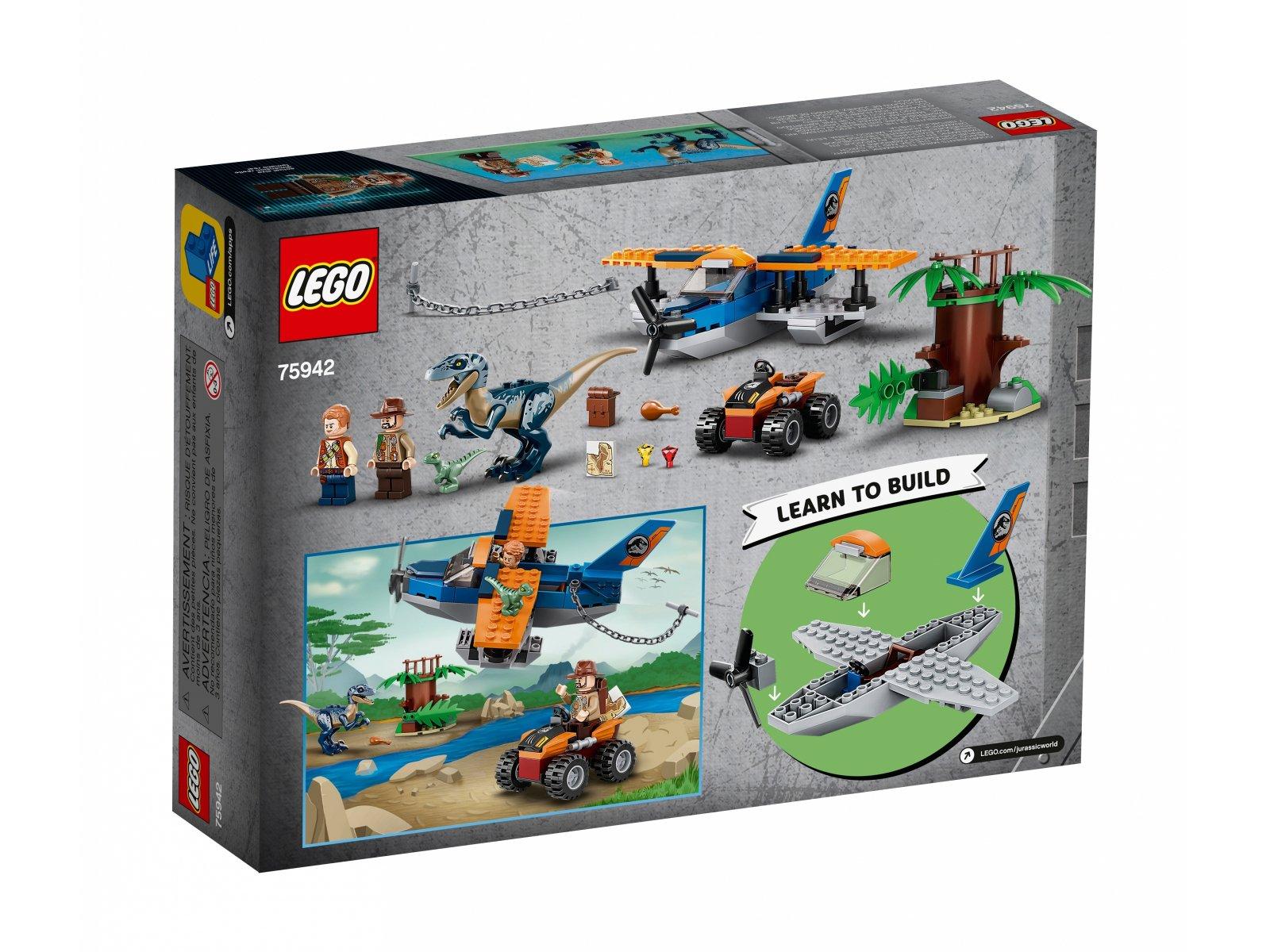 LEGO Jurassic World™ 75942 Welociraptor: na ratunek dwupłatowcem