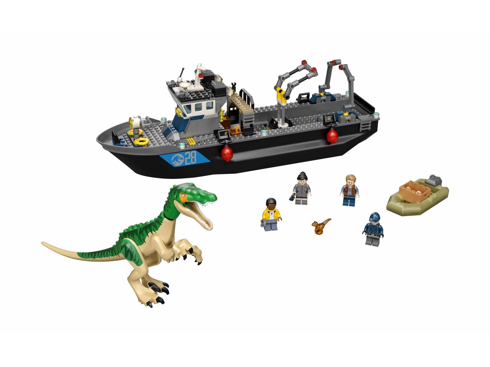LEGO 76942 Barionyks i ucieczka łodzią